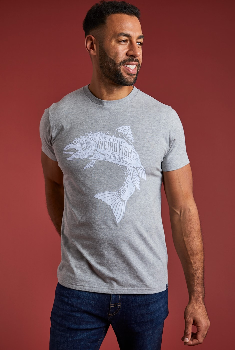 Hooked Eco Branded T-Shirt Grey
