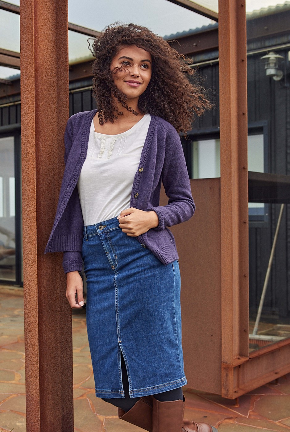 Madison Organic Denim Skirt Dark Denim