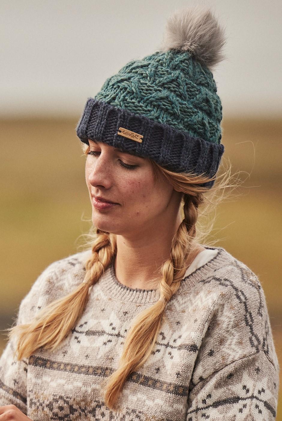 Livvy Eco Textured Bobble Hat Petrol Blue