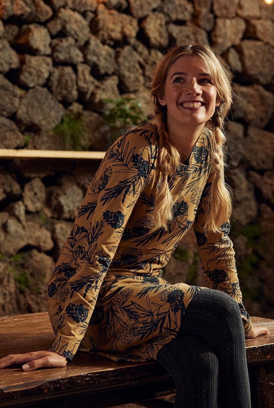 Delray Organic Cotton Jersey Dress Mustard
