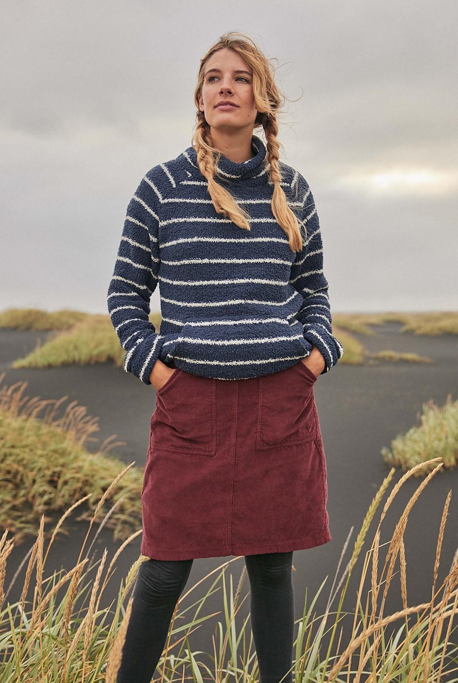Zafia Plain Cord Skirt Burgundy
