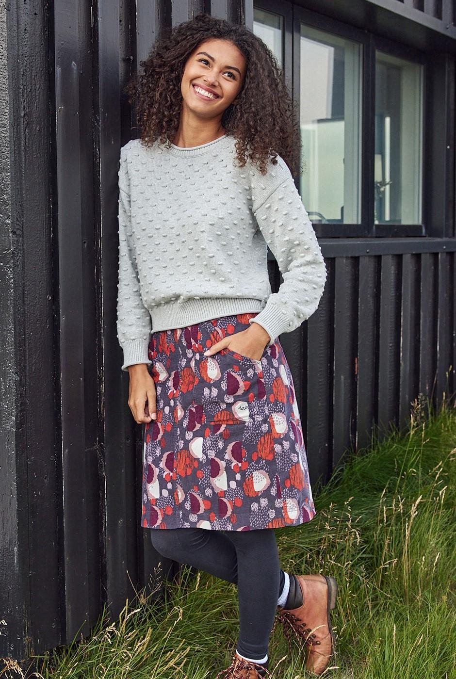 Valery Printed Cord Skirt Charcoal