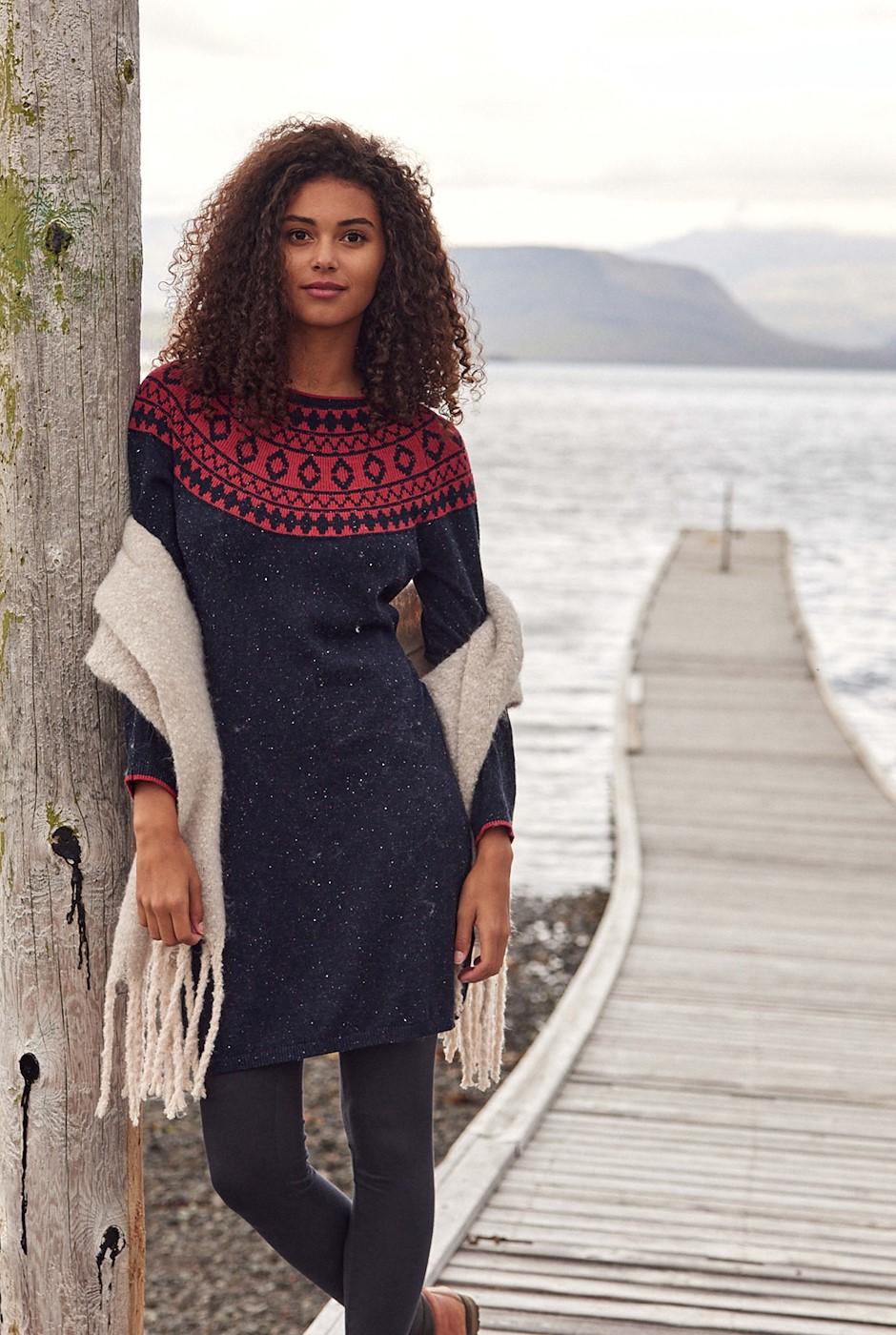 Briar Fairisle Knitted Dress Navy