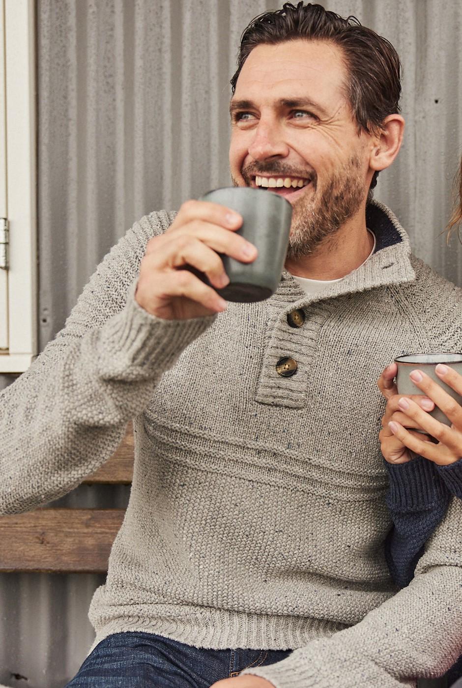 Merula Nepp Knit Button Neck Jumper Grey