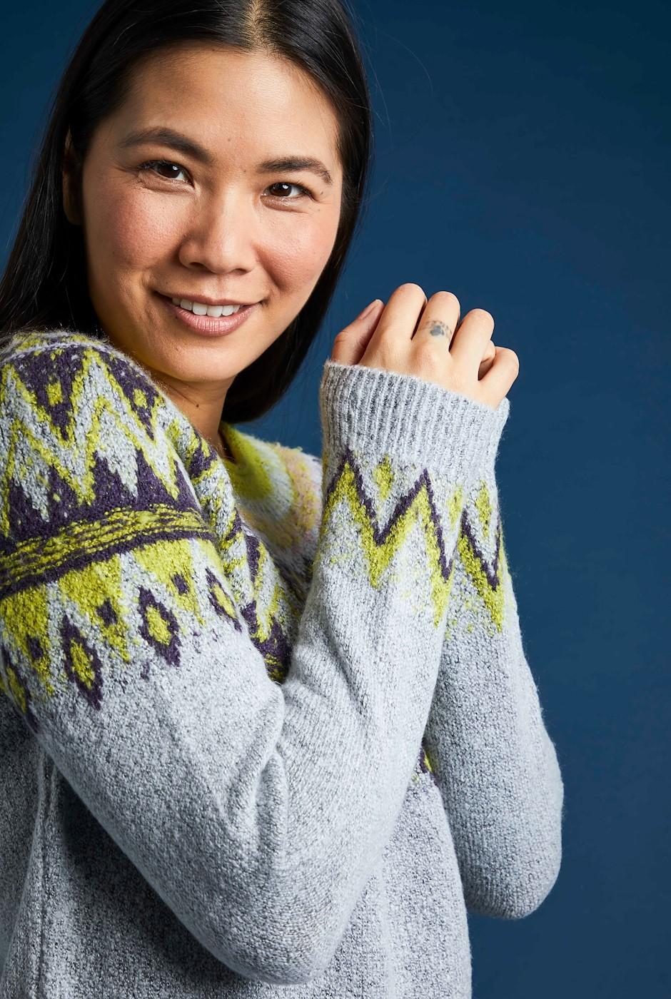 Liza FairIsle Knit Jumper Pearl Grey