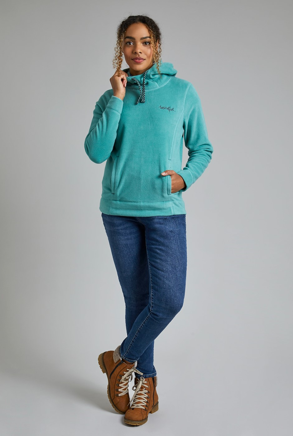 Durian Recycled Fleece Popover Hoodie Washed Teal
