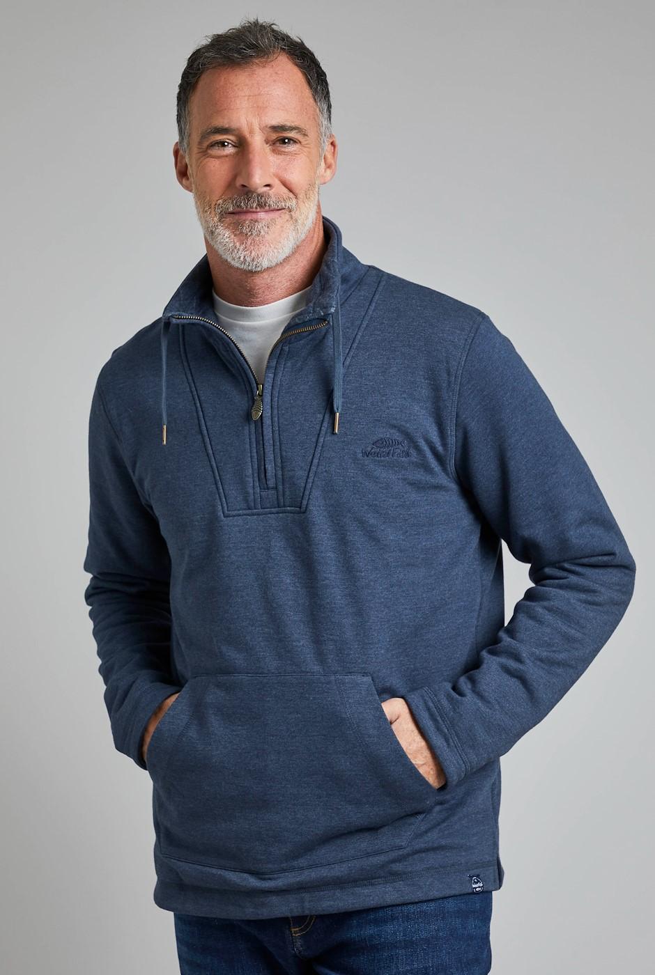 Asher Eco 1/4 Zip Wadded Sweatshirt Navy