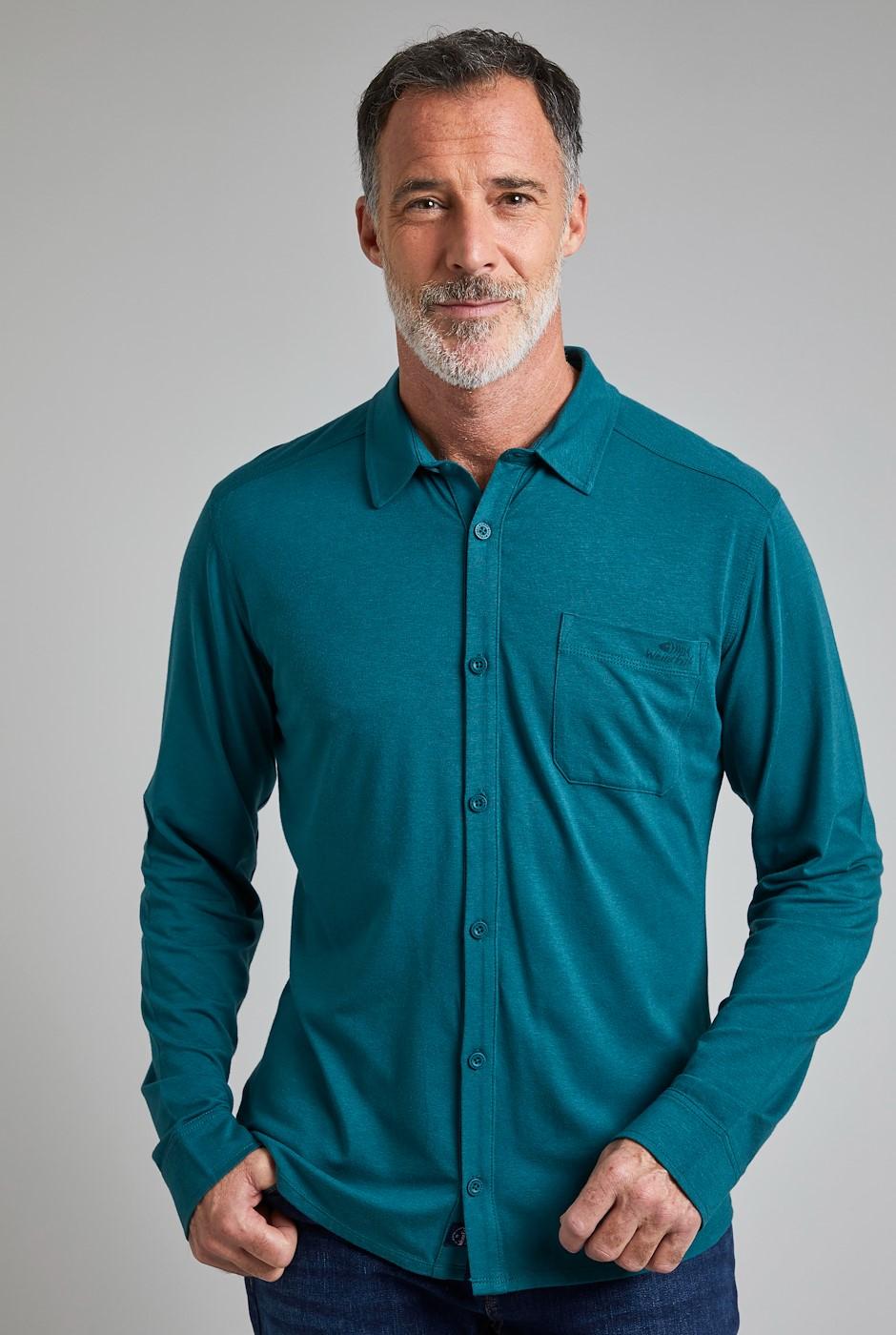 Hamlin Bamboo Long Sleeve Shirt Petrol Blue