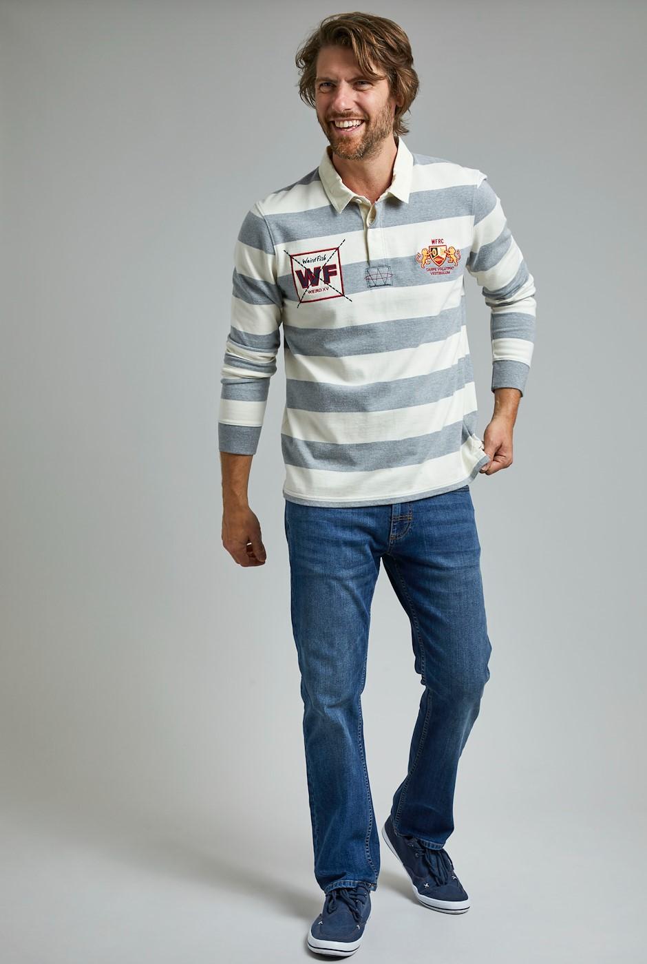 Leigh Organic Long Sleeve Striped Rugby Shirt Grey Marl