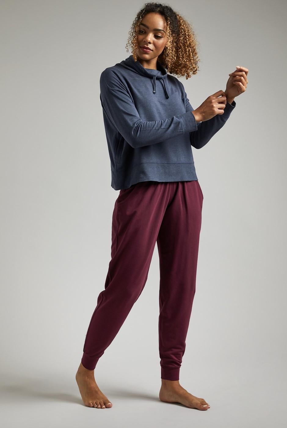 Myla Bamboo Cuffed Trousers Burgundy