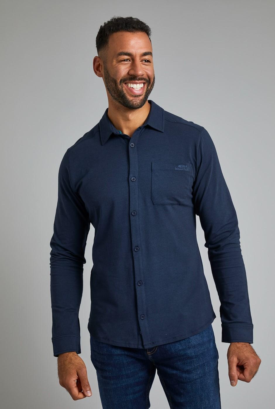 Hamlin Bamboo Long Sleeve Shirt Dark Navy