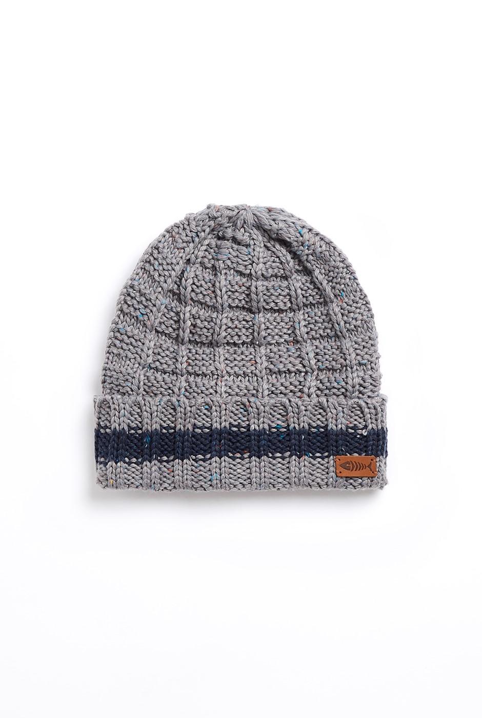 Fernley Eco Nepp Textured Stitch Beanie Frost Grey
