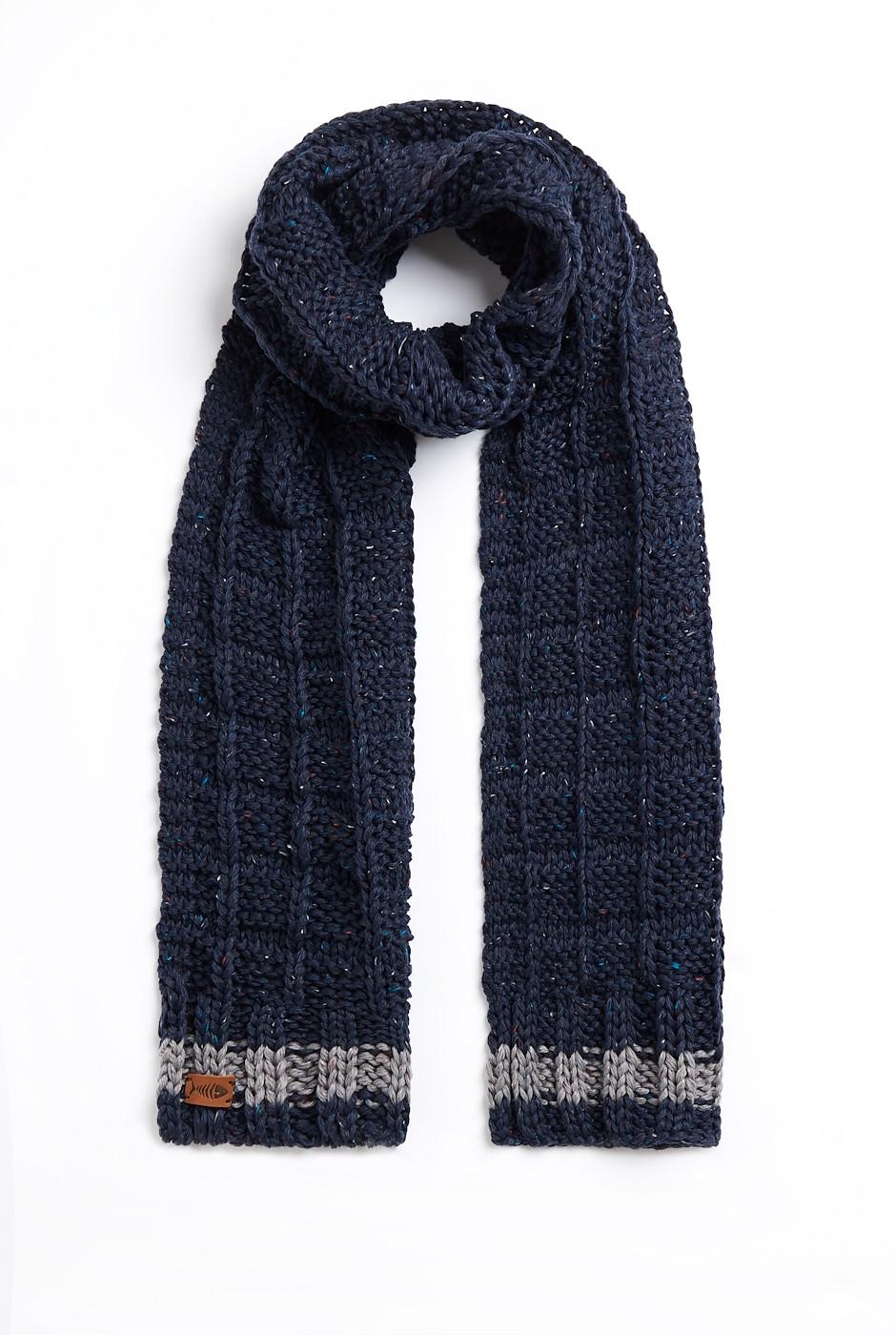 Nishin Eco Nepp Textured Stitch Scarf Navy