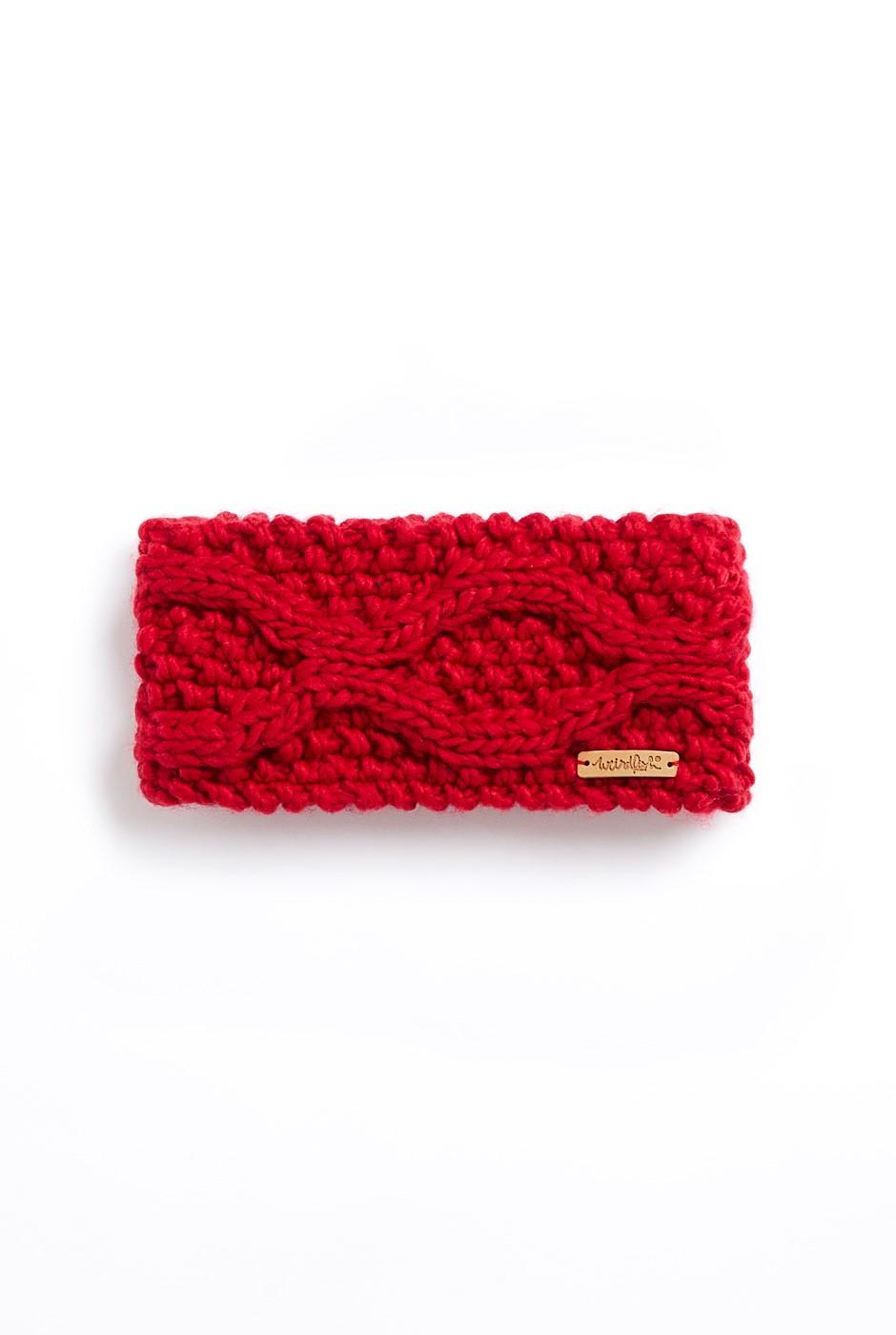 Ellor Eco Chunky Cable Knit Headband Crimson