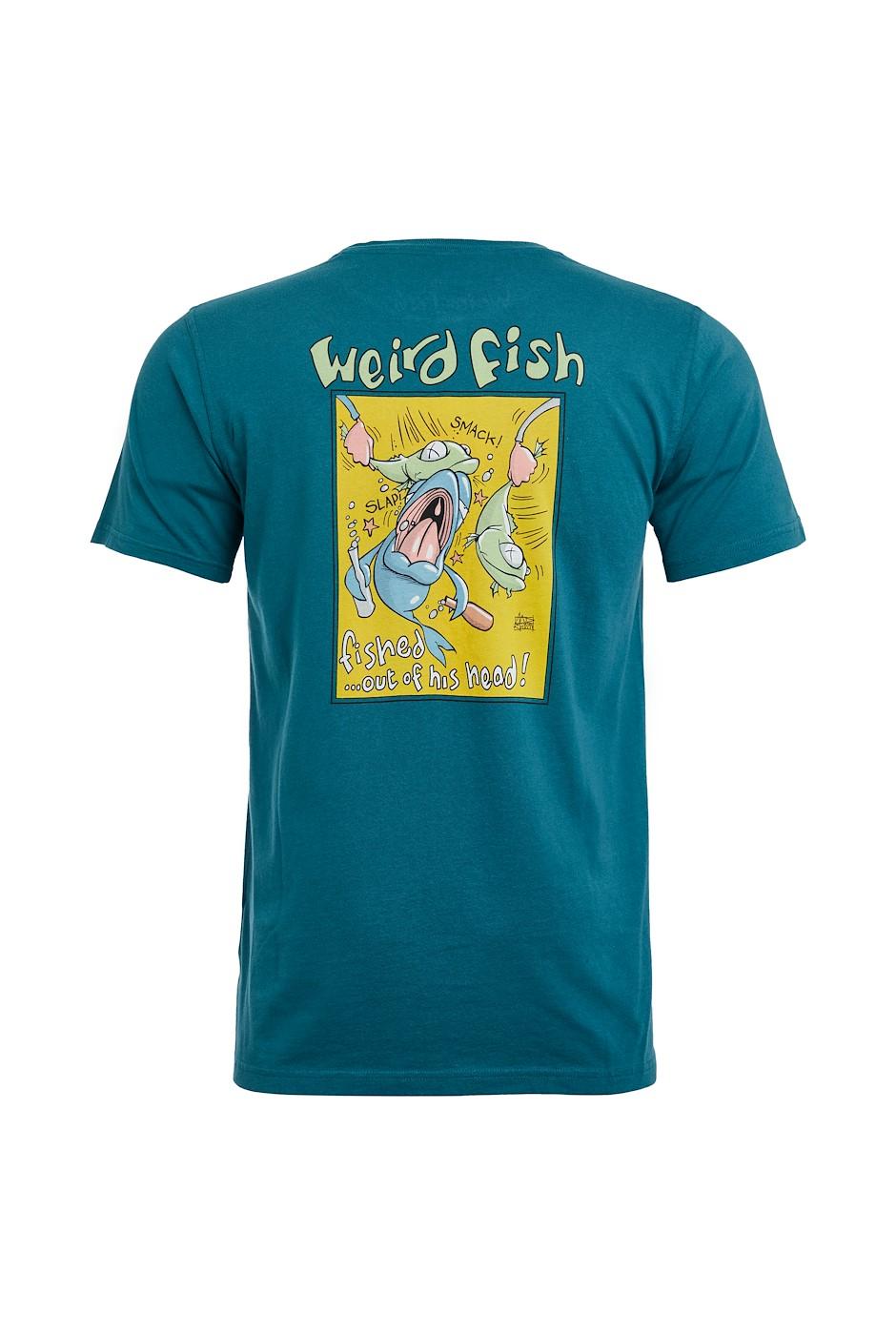 Fish Head Organic Cotton Artist T-Shirt Petrol Blue