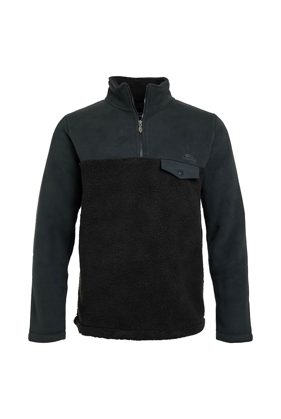 Atmore Recycled 1/4 Zip Panelled Borg Fleece Washed Black