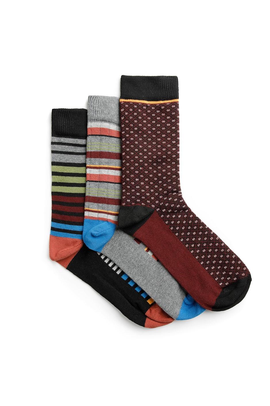 Wyatt Eco Stripe Socks Multi-Pack Coal